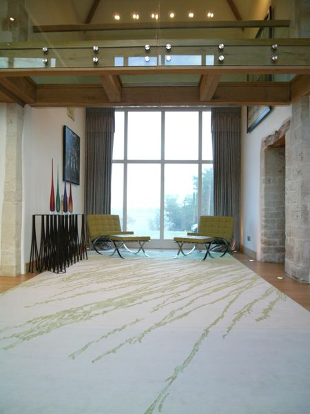 rug with grass pattern on it staged