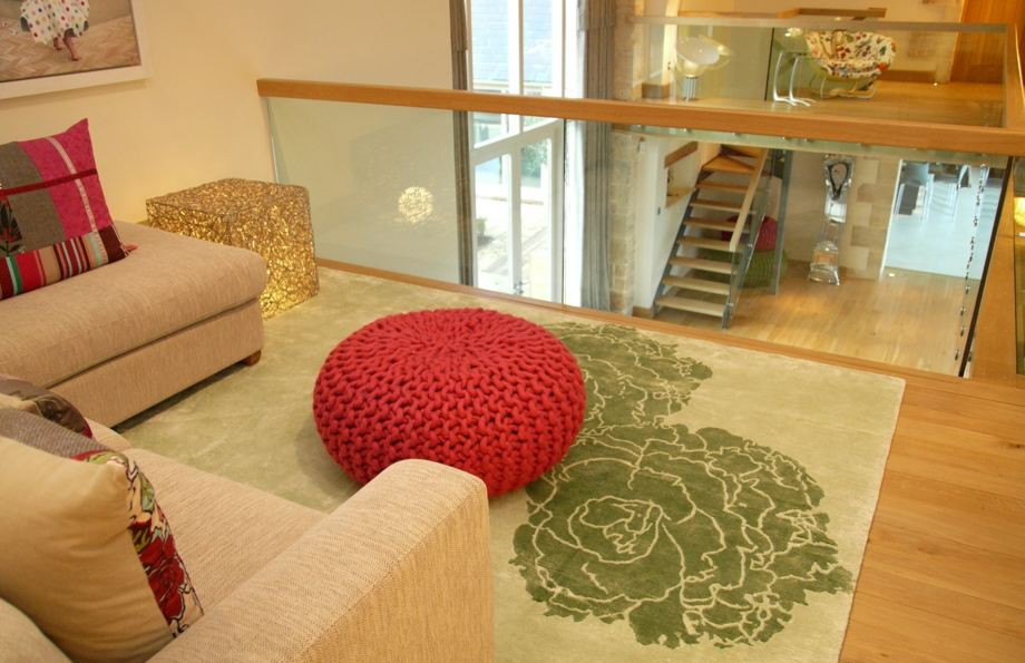 art wool rug staged in a home