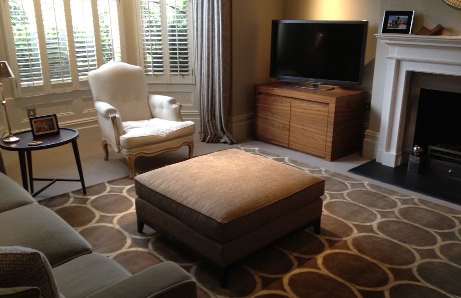 bespoke rug with pattern staged