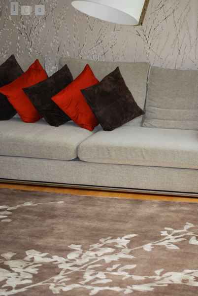 bespoke rug staged in a living room