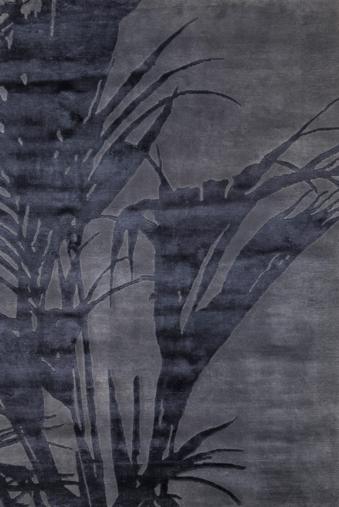 Palm - Hand knotted wool and art silk